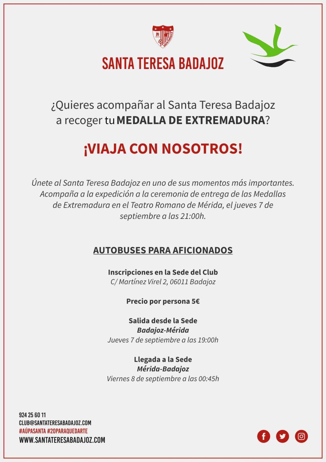 Autobuses de aficionados para recibir la Medalla de Extremadura en Mérida